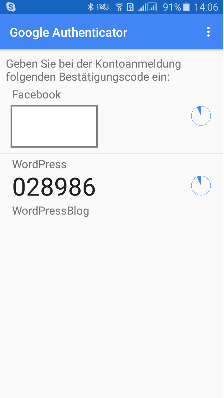 Der Authenticator-Code für Wordpress