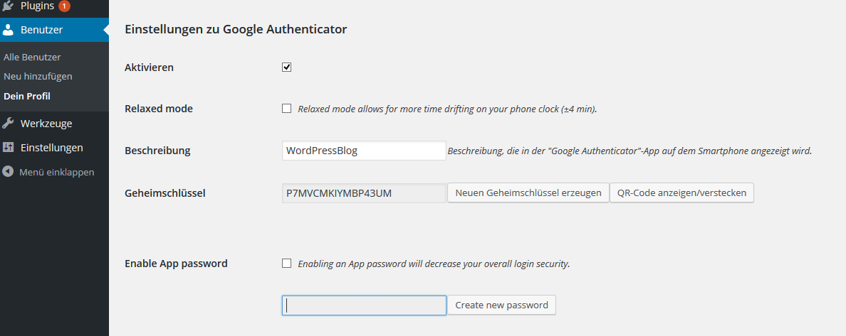 Einstellung des Plugins Google Authenticator im WordPress